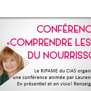 """RIPAME-Conférence """"Comprendre les pleurs du nourrisson"""" jeudi 8 octobre 2020"""