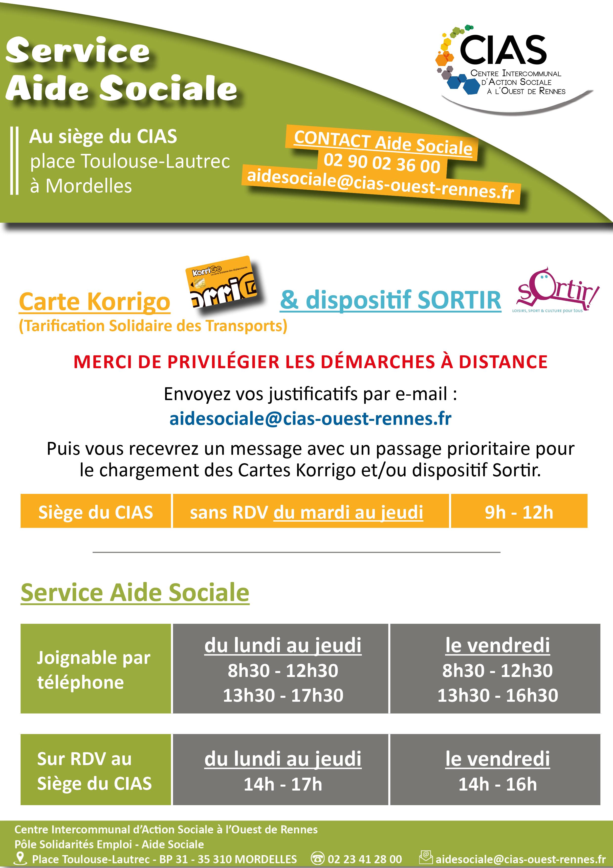 Horaires accueil Aide sociale CIAS à l'Ouest de Rennes